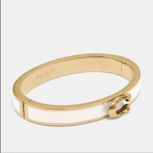 COACH white/gold heart bracelet♡